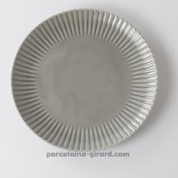 Assiette plate grise relief